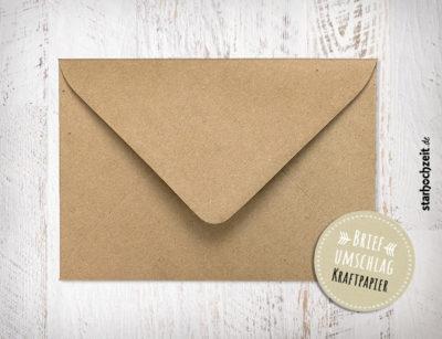 Briefumschlag Kraftpapier, für Hochzeitseinladungen, Hochzeitseinladungskarten, Dankeskarten, Danksagungskarten