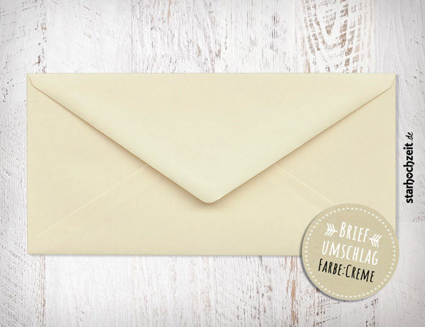 Briefumschlag Creme, für Hochzeitseinladungen, Hochzeitseinladungskarten, Dankeskarten, Danksagungskarten