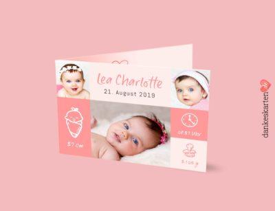 Geburtskarte Lea, zart rosa, Babykarte, Klappkarte, Dankeskarte, Dankeskarte Geburt,