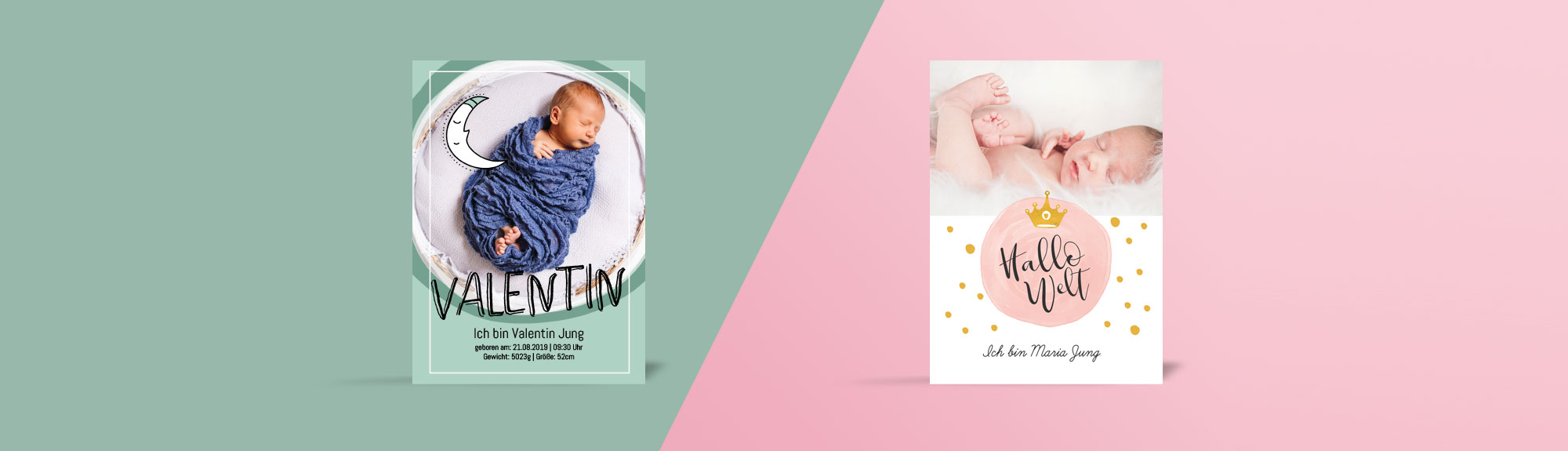 Kunterbunt sind unsere Geburtskarten für Jungen und Mädchen
