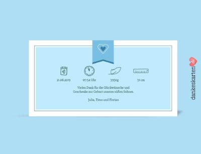 Dankeskarte zur Geburt, Geburtskarte, Geburtskarte Florian hinten, Fotokarte, blau, hellblau, Geburtskarte für Jungen, Boy,Geburtsgröße, Geburtsdatum, Geburtsgröße