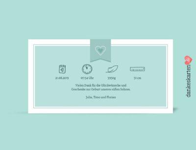 Geburtskarte Florian hinten, Fotokarte, mintgrün, Geburtskarte für Jungen, Boy,Geburtsgröße, Geburtsdatum, Geburtsgröße