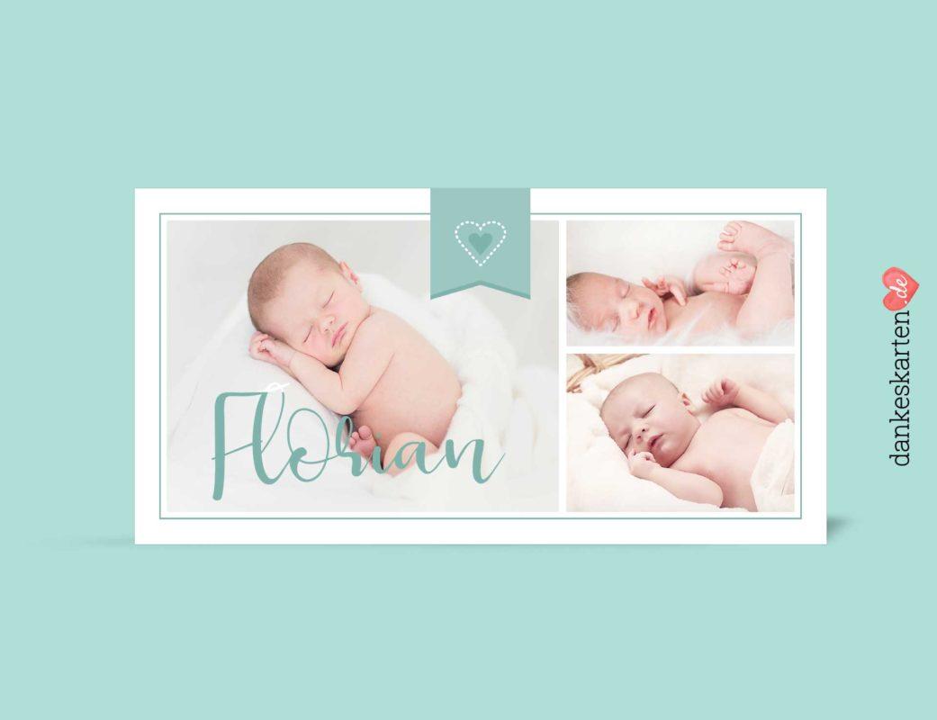Geburtskarte Florian vorn, Fotokarte, mitgrün, Geburtskarte für Jungen, Boy,