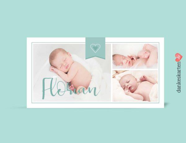 Dankeskarte zur Geburt, Geburtskarte, Geburtskarte Florian vorn, Fotokarte, mitgrün, Geburtskarte für Jungen, Boy,