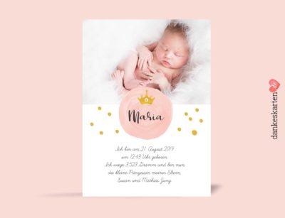 Geburtskarte Pünktchen, Rückseite, Fotokarte, Rosa, Gold, gelb, Prinzessin, Krone, Geburtskarte für Mädchen, Girl