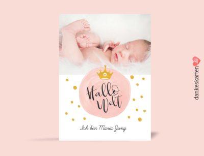 Geburtskarte Pünktchen, Vorderseite, Fotokarte, Rosa, Gold, gelb, Prinzessin, Krone, Geburtskarte für Mädchen, Girl