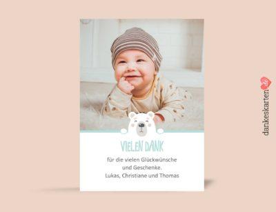 Dankeskarte zur Geburt, Geburtskarte, kleiner Bär, Babykarte, Fotokarte, Geburt, Junge, Baby, Kleinkind, selber Gestalten, Vorlage, türkis, Geburtsdaten, Kindermotiv, Babyfotos, Herzen, süß