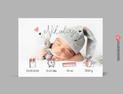 Dankeskarte zur Geburt, Geburtskarte, Babykarte, Fotokarte, Geburt, Junge, Mädchen, Baby, Kleinkind, selbst Gestalten, Text Babykarte, Text Dankeskarte